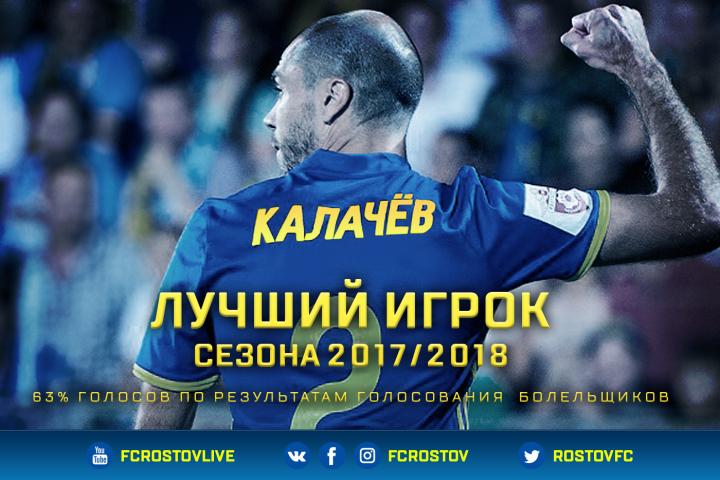 Тимофей Калачев – лучший игрок «Ростова» в сезоне 2017/2018!