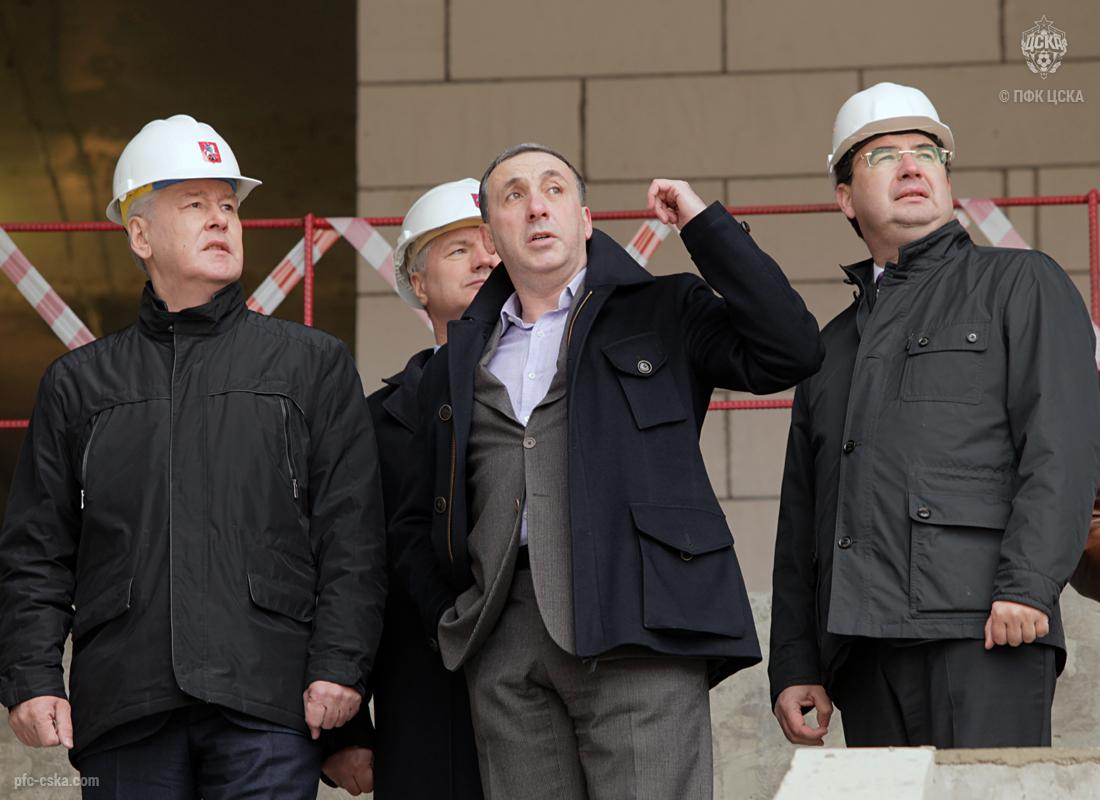 Сергей Собянин и Евгений Гинер посетили строящийся стадион ПФК ЦСКА