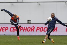 Тренировка сборной России 06.10.2014
